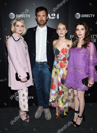 """Actress Lucy Boynton, left, director Osgood Perkins, actress Kiernan Shipka and actress Emma Roberts attend a special screening of """"The Blackcoat's Daughter"""", hosted by A24 and DirecTV, at Landmark Sunshine Cinema, in New York"""