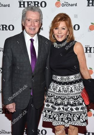 "Regis Philbin, left, and wife Joy Philbin attend a special screening of ""The Hero"" at The Whitby Hotel, in New York"