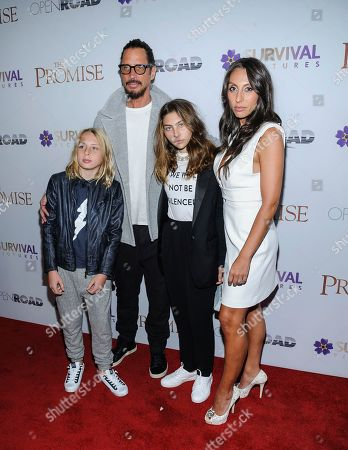 """Christopher Nicholas Cornell, from left, Chris Cornell, Toni Cornell, and Vicky Karayiannis attend the special screening of """"The Promise"""" at The Paris Theatre, in New York"""