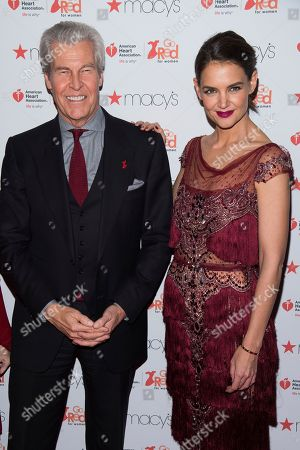 Terry Lundgren and Katie Holmes attend the Red Dress Collection 2017 show during Fashion Week on in New York