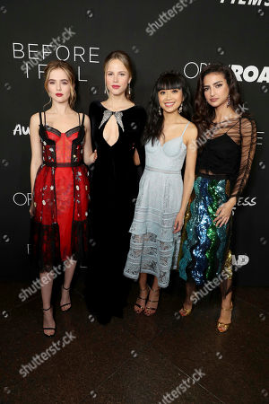 """Zoey Deutch, Halston Sage, Cynthy Wu and Medalion Rahimi seen at Open Road Films and Awesomeness Films Los Angeles Premiere of """"Before I Fall"""" at Directors Guild of America, in Los Angeles"""
