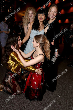 """Elena Kampouris, Medalion Rahimi, Cynthy Wu, Zoey Deutch and Halston Sage seen at Open Road Films and Awesomeness Films Los Angeles Premiere of """"Before I Fall"""" after party, in Los Angeles"""