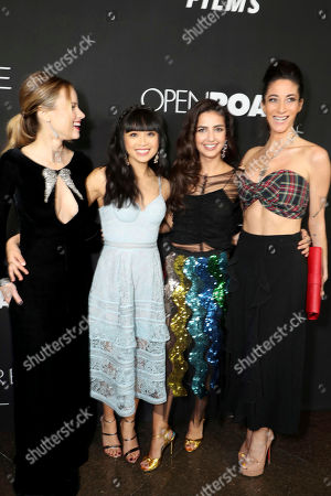 """Halston Sage, Cynthy Wu, Medalion Rahimi and Author Lauren Oliver seen at Open Road Films and Awesomeness Films Los Angeles Premiere of """"Before I Fall"""" at Directors Guild of America, in Los Angeles"""