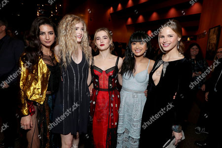 """Medalion Rahimi, Elena Kampouris, Zoey Deutch, Cynthy Wu and Halston Sage seen at Open Road Films and Awesomeness Films Los Angeles Premiere of """"Before I Fall"""" after party, in Los Angeles"""