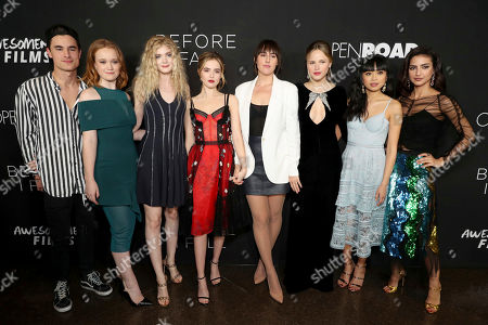 "Kian Lawley, Liv Hewson, Elena Kampouris, Zoey Deutch, Director Ry Russo-Young, Halston Sage, Cynthy Wu and Medalion Rahimi seen at Open Road Films and Awesomeness Films Los Angeles Premiere of ""Before I Fall"" at Directors Guild of America, in Los Angeles"