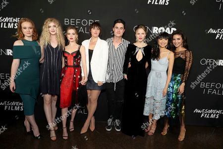 "Liv Hewson, Elena Kampouris, Zoey Deutch, Director Ry Russo-Young, Kian Lawley, Halston Sage, Cynthy Wu and Medalion Rahimi seen at Open Road Films and Awesomeness Films Los Angeles Premiere of ""Before I Fall"" at Directors Guild of America, in Los Angeles"