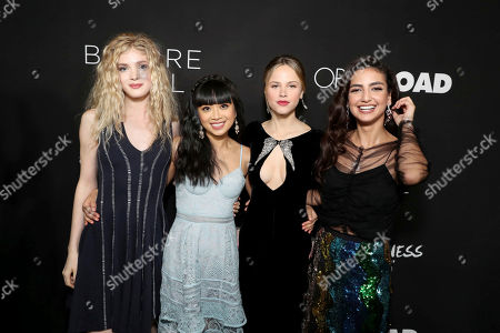 """Elena Kampouris, Cynthy Wu, Halston Sage and Medalion Rahimi seen at Open Road Films and Awesomeness Films Los Angeles Premiere of """"Before I Fall"""" at Directors Guild of America, in Los Angeles"""