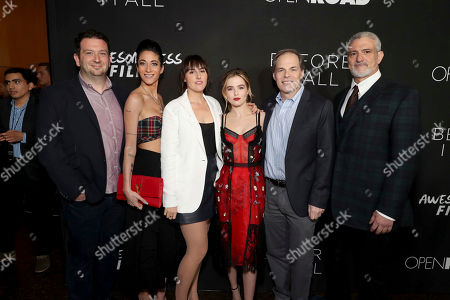 """Jonathan Helfgot, President of Marketing of Open Road Films, Author Lauren Oliver, Director Ry Russo-Young, Zoey Deutch, Tom Ortenberg, Chief Executive Officer of Open Road Films, and Producer Jon Shestack seen at Open Road Films and Awesomeness Films Los Angeles Premiere of """"Before I Fall"""" at Directors Guild of America, in Los Angeles"""