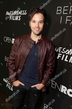 """Stock Picture of Nathan Kress seen at Open Road Films and Awesomeness Films Los Angeles Premiere of """"Before I Fall"""" at Directors Guild of America, in Los Angeles"""