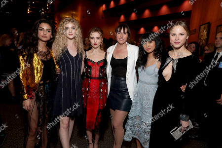 """Medalion Rahimi, Elena Kampouris, Zoey Deutch, Director Ry Russo-Young, Cynthy Wu and Halston Sage seen at Open Road Films and Awesomeness Films Los Angeles Premiere of """"Before I Fall"""" after party, in Los Angeles"""