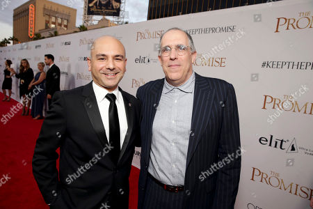 """Stock Image of Producer Eric Esrailian and Producer William Horberg seen at Open Road Films US Premiere of """"The Promise"""" at TCL Chinese Theatre, in Los Angeles"""