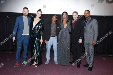 "Director Baran bo Odar, Michelle Monaghan, Octavius J. Johnson, Gabrielle Union, Dermot Mulroney and Jamie Foxx seen at Open Road Films' ""Sleepless"" Los Angeles Premiere at Regal LA LIVE, in Los Angeles"