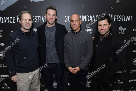 "Tom Ortenberg, CEO of Open Road Films, Producer Matthew Kaplan, Producer Brian Robbins and Executive Producer Brett Bouttier seen at Open Roads Films premiere of ""Before I Fall"" at 2017 Sundance Film Festival, in Park City, Utah"