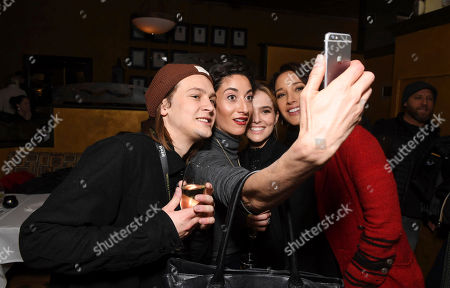 """Logan Miller, Author/Executive Producer Lauren Oliver, Jennifer Beals and Zoey Deutch take a selfie at Open Roads Films premiere of """"Before I Fall"""" after party at 2017 Sundance Film Festival, in Park City, Utah"""