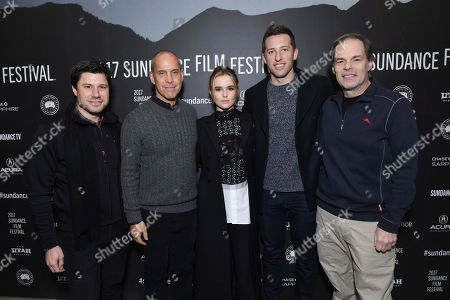 "Executive Producer Brett Bouttier, Producer Brian Robbins, Zoey Deutch, Producer Matthew Kaplan and Tom Ortenberg, CEO of Open Road Films, seen at Open Roads Films premiere of ""Before I Fall"" at 2017 Sundance Film Festival, in Park City, Utah"