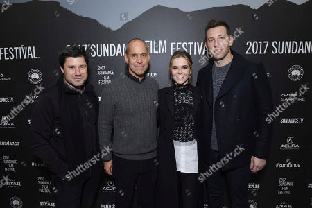 "Executive Producer Brett Bouttier, Producer Brian Robbins, Zoey Deutch and Producer Matthew Kaplan seen at Open Roads Films premiere of ""Before I Fall"" at 2017 Sundance Film Festival, in Park City, Utah"