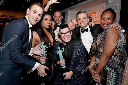 Alan Aisenberg, Jessica Pimentel, Nick Sandow, Lea DeLaria, Netflix Chief Content Officer Ted Sarandos and Nicole Avant seen at People and EIF's Annual Screen Actors Guild Awards Gala, in Los Angeles