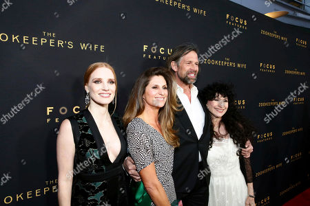 "Jessica Chastain, Director Niki Caro, Johan Heldenbergh and Author Diane Ackerman seen at Los Angeles Premiere of Focus Features' ""The Zookeeper's Wife"" at ArcLight Hollywood, in Los Angeles"