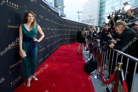"""Magdalena Lamparska seen at Los Angeles Premiere of Focus Features' """"The Zookeeper's Wife"""" at ArcLight Hollywood, in Los Angeles"""