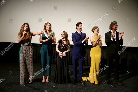 "Director Niki Caro, Magdalena Lamparska, Shira Haas, Iddo Goldberg, Efrat Dor and Johan Heldenbergh seen at Los Angeles Premiere of Focus Features' ""The Zookeeper's Wife"" at ArcLight Hollywood, in Los Angeles"
