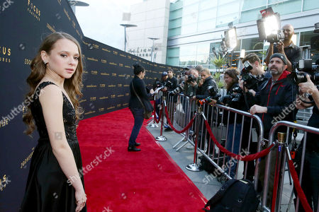 """Shira Haas seen at Los Angeles Premiere of Focus Features' """"The Zookeeper's Wife"""" at ArcLight Hollywood, in Los Angeles"""