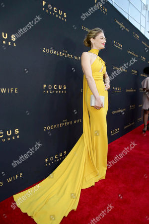 "Efrat Dor seen at Los Angeles Premiere of Focus Features' ""The Zookeeper's Wife"" at ArcLight Hollywood, in Los Angeles"