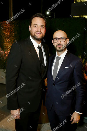 """Producer Jamie Patricof and Peter Kujawski, Chairman, Focus Features, seen at Los Angeles Premiere of Focus Features' """"The Zookeeper's Wife"""" at ArcLight Hollywood, in Los Angeles"""