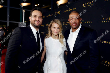 "Producer Jamie Patricof, Kelly Sawyer and Doc Rivers seen at Los Angeles Premiere of Focus Features' ""The Zookeeper's Wife"" at ArcLight Hollywood, in Los Angeles"