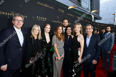 """Producer Jeff Abberley, Executive Producer Robbie Rowe Tollin, Jessica Chastain, Director Niki Caro, Producer Jamie Patricof, Producer Diane Miller Levin, Producer Kim Zubick and Executive Producer Michael Tollin seen at Los Angeles Premiere of Focus Features' """"The Zookeeper's Wife"""" at ArcLight Hollywood, in Los Angeles"""