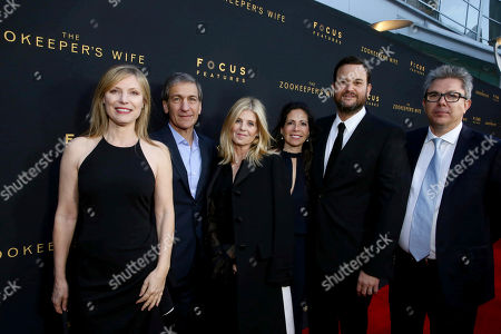 """Producer Kim Zubick, Executive Producer Michael Tollin, Executive Producer Robbie Rowe Tollin, Producer Diane Miller Levin, Producer Jamie Patricof and Producer Jeff Abberley seen at Los Angeles Premiere of Focus Features' """"The Zookeeper's Wife"""" at ArcLight Hollywood, in Los Angeles"""