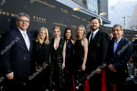 """Producer Jeff Abberley, Executive Producer Robbie Rowe Tollin, Jessica Chastain, Producer Diane Miller Levin, Producer Kim Zubick, Producer Jamie Patricof and Executive Producer Michael Tollin seen at Los Angeles Premiere of Focus Features' """"The Zookeeper's Wife"""" at ArcLight Hollywood, in Los Angeles"""