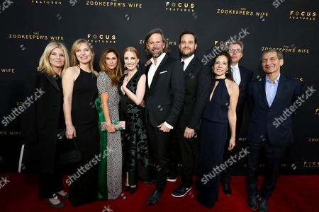 """Executive Producer Robbie Rowe Tollin, Producer Kim Zubick, Director Niki Caro, Jessica Chastain, Johan Heldenbergh, Producer Jamie Patricof, Producer Diane Miller Levin, Producer Jeff Abberley and Executive Producer Michael Tollin seen at Los Angeles Premiere of Focus Features' """"The Zookeeper's Wife"""" at ArcLight Hollywood, in Los Angeles"""
