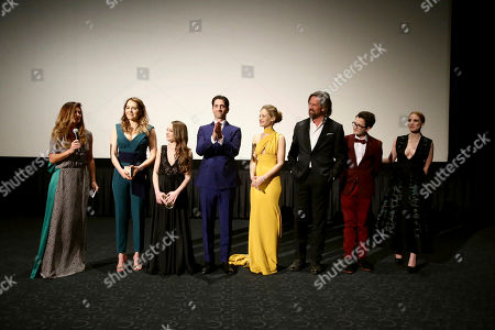 "Director Niki Caro, Magdalena Lamparska, Shira Haas, Iddo Goldberg, Efrat Dor, Johan Heldenbergh, Val Maloku and Jessica Chastain seen at Los Angeles Premiere of Focus Features' ""The Zookeeper's Wife"" at ArcLight Hollywood, in Los Angeles"