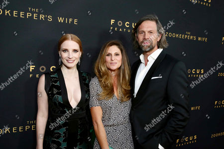 """Jessica Chastain, Director Niki Caro and Johan Heldenbergh seen at Los Angeles Premiere of Focus Features' """"The Zookeeper's Wife"""" at ArcLight Hollywood, in Los Angeles"""