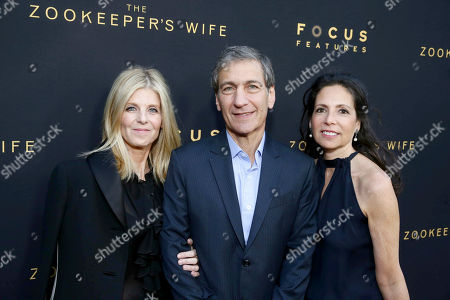 """Executive Producer Robbie Rowe Tollin, Executive Producer Michael Tollin and Producer Diane Miller Levin seen at Los Angeles Premiere of Focus Features' """"The Zookeeper's Wife"""" at ArcLight Hollywood, in Los Angeles"""