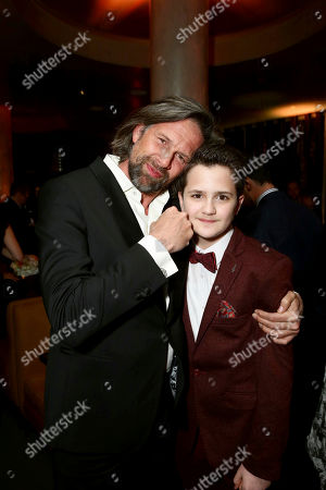 """Johan Heldenbergh and Val Maloku seen at Los Angeles Premiere of Focus Features' """"The Zookeeper's Wife"""" at ArcLight Hollywood, in Los Angeles"""