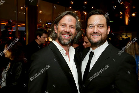 """Johan Heldenbergh and Producer Jamie Patricof seen at Los Angeles Premiere of Focus Features' """"The Zookeeper's Wife"""" at ArcLight Hollywood, in Los Angeles"""