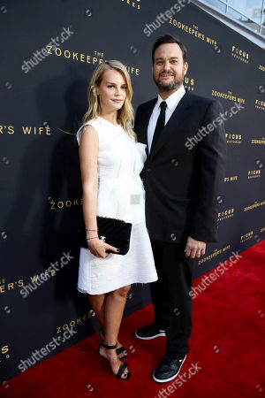 """Kelly Sawyer and Producer Jamie Patricof seen at Los Angeles Premiere of Focus Features' """"The Zookeeper's Wife"""" at ArcLight Hollywood, in Los Angeles"""