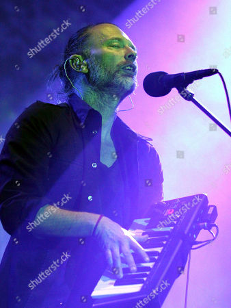 Thom Yorke, Jonny Greenwood, Colin Greenwood, Ed O'Brien and Philip Selway with Radiohead performs at Philips Arena, in Atlanta