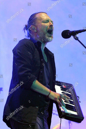 Stock Photo of Thom Yorke, Jonny Greenwood, Colin Greenwood, Ed O'Brien and Philip Selway with Radiohead performs at Philips Arena, in Atlanta