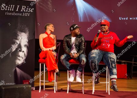 Grammy nominated artist Raheem DeVaughn, center, joins R&B sensation Goapele, left, and Oakland based social justice activist and poet Roxanne Hannah-Ware to lead a discussion on sexual health, wellness and healthy relationships at the launch of the national campaign, RISE Above sponsored by AIDS Healthcare Foundation and WORLD, in Oakland, Calif