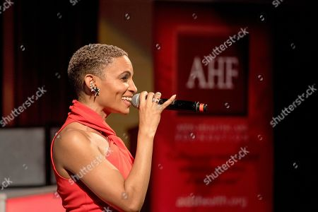 R&B singer Goapele opens an evening of intimate conversation and music at the launch of the national campaign, RISE Above sponsored by AIDS Healthcare Foundation and WORLD, in Oakland, Calif