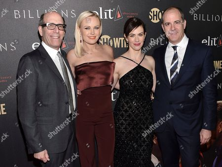 """Chairman, Showtime Networks Matthew C. Blank, left, actor Malin Akerman, actor Maggie Siff and Showtime Networks President and CEO David Nevins attend Showtime's """"Billions"""" Season 2 premiere at Cipriani, in New York"""