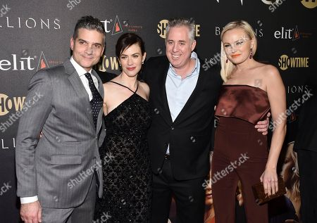 "Executive Producer/Showrunner David Levien, left, actor Maggie Siff, Brian Koppelman and Malin Akerman attend Showtime's ""Billions"" Season 2 premiere at Cipriani, in New York"