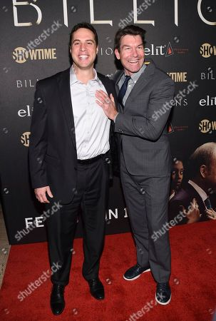"""Former professional baseball player Mark Teixeira, left, and actor Jerry O'Connell attend Showtime's """"Billions"""" Season 2 premiere at Cipriani, in New York"""