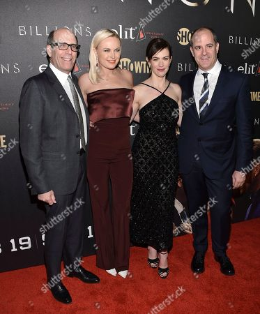 """Stock Picture of Chairman, Showtime Networks Matthew C. Blank, left, actor Malin Akerman, actor Maggie Siff and Showtime Networks President and CEO David Nevins attend Showtime's """"Billions"""" Season 2 premiere at Cipriani, in New York"""