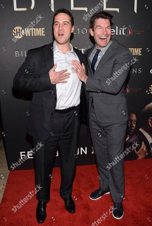 """Stock Photo of Former professional baseball player Mark Teixeira, left, and actor Jerry O'Connell attend Showtime's """"Billions"""" Season 2 premiere at Cipriani, in New York"""