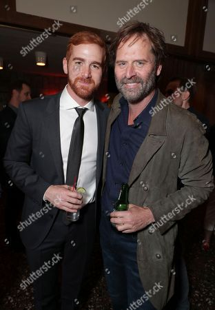 """Andrew Santino, left, and Jeff Nordling are pictured at Showtime's """"I'm Dying Up Here"""" premiere after party at Canter's Deli, in Los Angeles"""