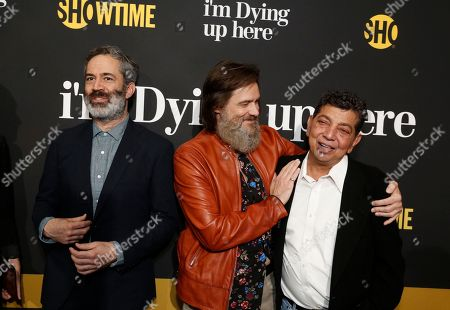 """Executive producers, Michael Aguilar, from left, Jim Carrey, and David Flebotte are pictured at Showtime's """"I'm Dying Up Here"""" premiere at the Directors Guild of America Theater, in Los Angeles"""