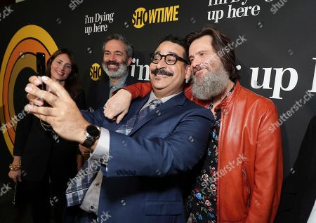 """Erik Griffin, center, and executive producers, Christina Wayne, from left, Michael Aguilar and Jim Carrey are pictured at Showtime's """"I'm Dying Up Here"""" premiere at the Directors Guild of America Theater, in Los Angeles"""